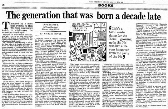 Coupland's Generation X - 1992 Book Review by Michael Hutak • Courtesy of hutak.org